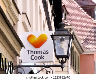 Ansbach, GERMANY, APR 21, 2018: Thomas Cook store, a local UK high street travel agency. Thomas Cook Group plc is a British global travel company listed on the London Stock Exchange.