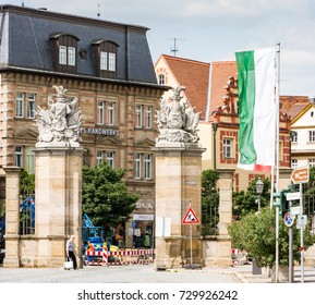 ANSBACH, GERMANY - AUGUST 22: The gate of the  Residence castle in Ansbach, Germany on August 22, 2017.