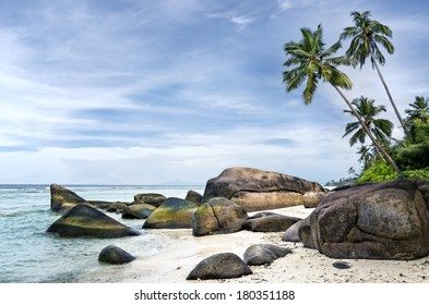 Anse aux Cedres, lovely deserted beach south-west of La Digue island, Seychelles