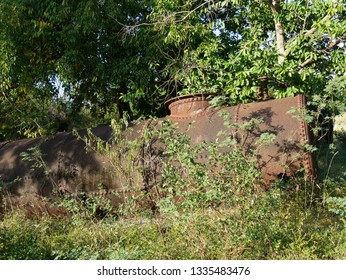 Anse Bertrand, Guadeloupe/France : 02/11/2019 : Vat of the old sugar factory of Mahaudiere in Guadeloupe