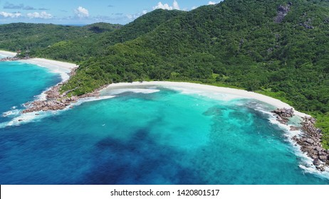 anse Cocos, anse petit, anse grande aerial view on la digue island in Seychelles
