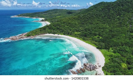 anse Cocos, anse petit, anse grande beach aerial view on la digue island in Seychelles