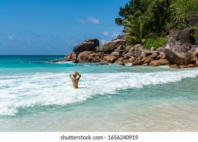 Anse Georgette beach in Praslin Island Seychelles