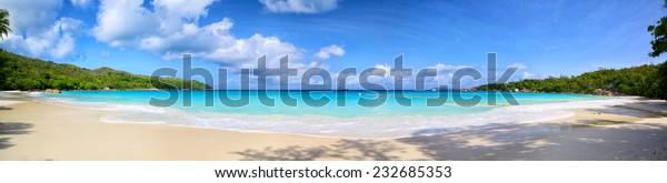 Anse Lazio Beach Panorama, Praslin, Seyshelles