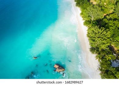 Anse Lazio empty beach aerial view in Praslin Seychelles