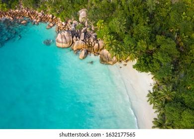 Anse Lazio empty drone beach view in Praslin Island Seychelles