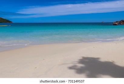 Anse Lazio white sand beach. Praslin island. Indian ocean shore. Nature of Seychelles