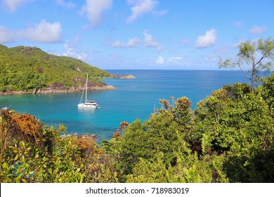 Anse Major trail along the coast of the Indian ocean. Northern part of Mahe island. Hiking in Seychelles