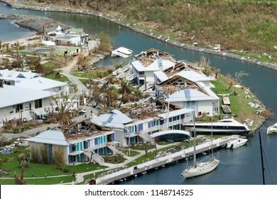 Anse Marcel St Martin- November , 2017: Hurricane Irma destroy resorts, homes and buildings on saint martin.