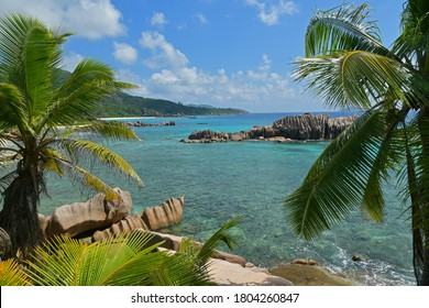 Anse Marron Beach, Seychelles. Highlighs are a Natural saltwater pool cut off from the open ocean by imposing boulder formations, beauty of the beach, beautiful sand, and the clear ocean water.
