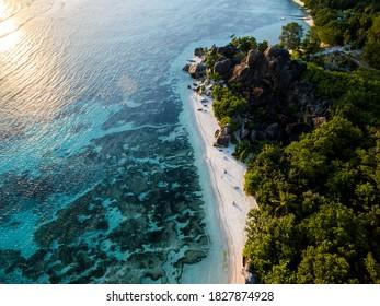 Anse Source D'Argent Beach Seychelles Drone
