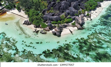 Anse Source D'argent view on la digue island in Seychelles