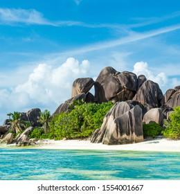 Strand Anse Sous d'Argent mit Granitfelsen und türkisfarbenem Meer