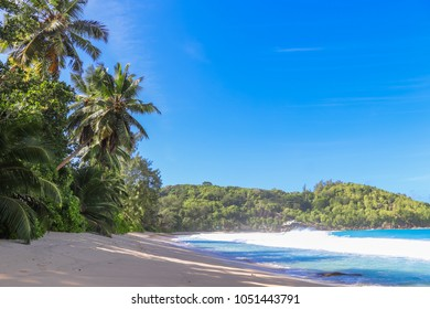 Anse Takamaka beach. Indian ocean. Western part of Mahe island. Seychelles