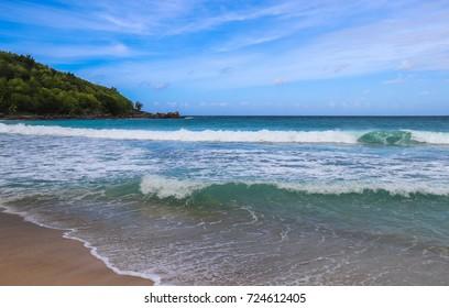 Anse Takamaka beach. Western part of Mahe island. Seychelles