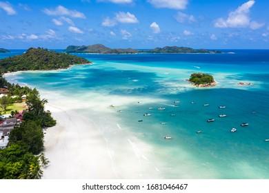 Anse Volbert in Praslin Island Seychelles Drone beach view