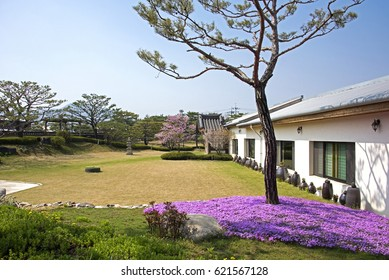 Anseong, South Korea - April 15, 2017: Spring landscape of farm