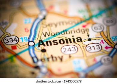 Ansonia. Connecticut. USA on a geography map