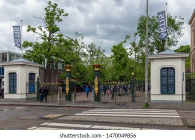 Ansterdam, The Netherlands - June 08, 2019: Visitors entering Artis Zoo Amsterdam, the oldest zoo of the Netherlands