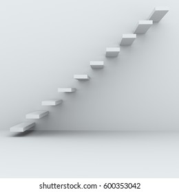 Anstract white room wall steps leading upwards. 3D rendring concept image.