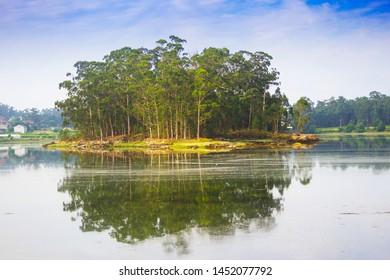 Ansuina island reflected on the calm waters of Vilanova de Arousa estuary