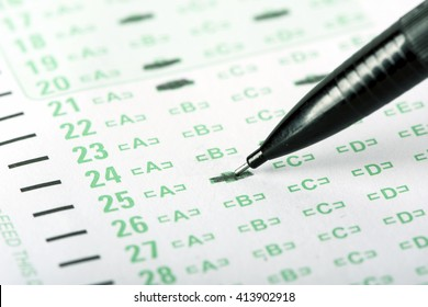 An answer sheet or optical mark recognition sheet with a mechanical pencil.