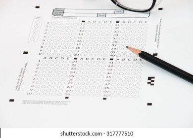 Answer Sheet with and pencil