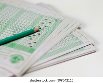 answer sheet, test score sheet with answers in thai education