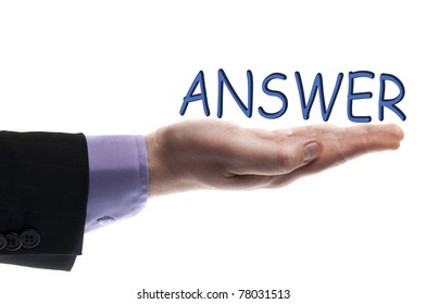 Answer word in male hand