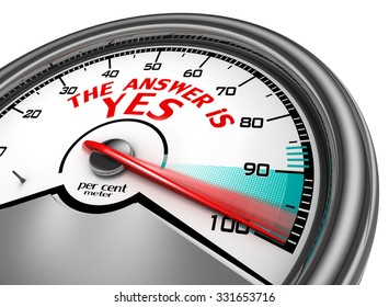 The answer is yes hundred per cent conceptual meter, isolated on white background
