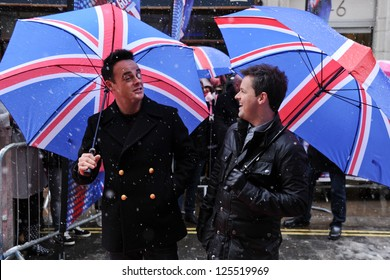Ant McPartlin and Declan Donnelly arrives to judge the 'Britain's Got Talent' auditions at the Palladium, London. 20/01/2013 Picture by: Steve Vas