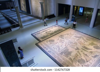ANTAKYA ARCHAEOLOGY MUSEUM, ANTAKYA, TURKEY -22 July 2018. A view from the Antakya Archaeology Museum which is known for its extensive collection of Roman and Byzantine Era mosaics.