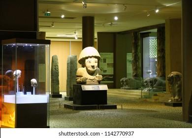 ANTAKYA ARCHAEOLOGY MUSEUM, ANTAKYA, TURKEY - 22 July 2018. A view from the Antakya Archaeology Museum.  One of the symbols of the museum is the Statue of Hittite King Suppiluliuma II.