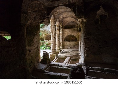 Antakya, Hatay / Turkey - 04/27/2018: Besikli Cave tomb monument in Antakya (Antioch). In tombs, 12 rock tombs are found which belongs to Roman.