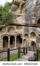 Antakya, Hatay / Turkey - 04/27/2018 : Besikli Cave Tomb Monument in Antakya (Antioch). In tombs, 12 rock tombs are found which belongs the Roman.