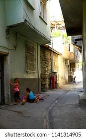 ANTAKYA, TURKEY - 20 July 2018. Children are playing on the narrow streets of Antakya.