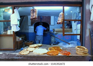 ANTAKYA, TURKEY - 20 July 2018. A view from a traditional bakery in Uzun Carsi (old market district) in Antakya.