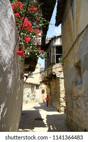 ANTAKYA, TURKEY - 21 July 2018. A view from the old narrow streets of Antakya. Traditional houses are under protection in the old district.