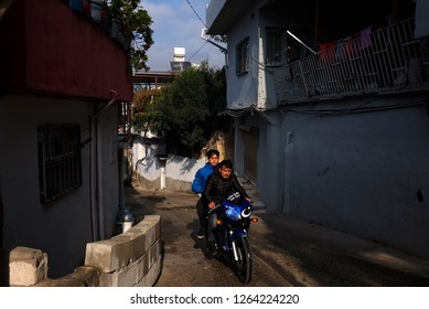 Antakya, Turkey - November 15, 2018 : Streets in Antakya, which consists of a maze of narrow alleys lined by houses, shops, bazaars and mosques.