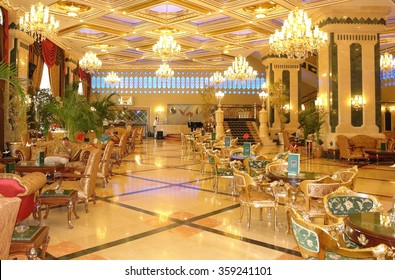 ANTALIA, TURKEY - MAY 12, 2012: The hall and restaurant of high class hotel Sera in Antalia, Turkey.