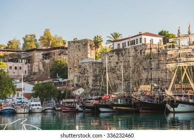 ANTALYA - August 25: Antalya Harbour at Dusk on  August 25, 2015 in Antalya, Turkey.