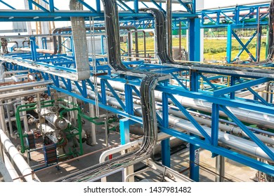 Antalya, Belek / Turkey - 04-12-2018 : Chemical industry plant, factory or facility. Oil and gas refinery in factory. Steel Pipelines, tubes, containers and tanks in chemical plant.