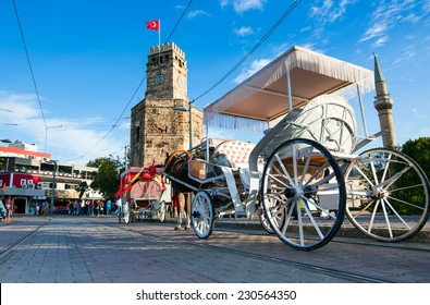Antalya city center and phaeton against clock tower