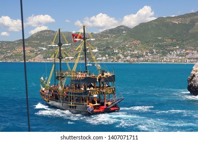 ANTALYA DISTRICT, ALANYA, TURKEY - 08 MAY, 2019:  Ancient Pirate Ship Expedition. Pleasure boat from the port Alanya.