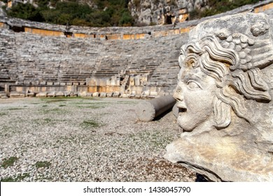 Antalya Myra Rock tombs made of stone in the ancient city of gorgon medusa reliefs in Turkey.