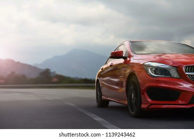 Antalya / Turkey - 01.15.18: Mercedes Benz CLA speeding on a mountain highway with motion blur
