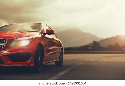 Antalya / Turkey - 01.15.18: red car Mercedes Benz CLA drive by road on high speed