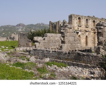 Antalya / Turkey - 02.19.2016: Ruins in the ancient city of Aspendos.