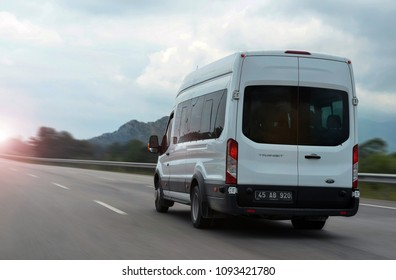 Antalya / Turkey - 05.17.2017: Ford Transit speeding on road