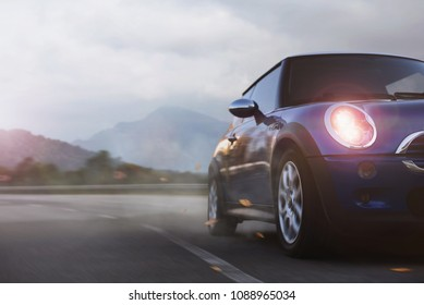 Antalya / Turkey - 05.17.2017: Mini Cooper car on the highway